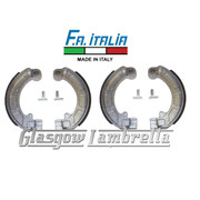 FA ITALIA Vespa PX, T5 / LML non-disc 2 Sets of BRAKE SHOES for FRONT & REAR