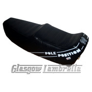 Vespa T5  Mk1 Repro/Copy GIULIARI YANKEE POLE POSITION SEAT in BLACK & WHITE