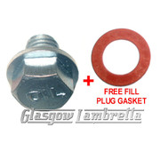 Vespa Scooter OIL FILL PLUG / BOLT + FREE GASKET