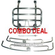 ACCESSORIES COMBO DEAL!!! Vespa PX, T5 / LML STAINLESS STEEL FRONT RACK & SIDE CRASH BARS (BLACK HEX)