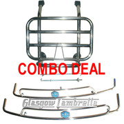 ACCESSORIES COMBO DEAL!!! Vespa PX, T5 / LML STAINLESS STEEL FRONT RACK & SIDE CRASH BARS (BLUE HEX)