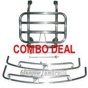 ACCESSORIES COMBO DEAL!!! Vespa PX, T5 / LML STAINLESS STEEL FRONT RACK & SIDE CRASH BARS (BLACK SQU)