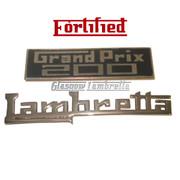 Lambretta GP / GRAND PRIX 200 LEGSHIELD BADGE & NAME STRIP SET by FORTIFIED (Orig Italian spec)