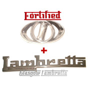 Lambretta GP 125/150/200 LEGSHIELD STRIP & INNOCENTI HORNCAST BADGE by FORTIFIED (Orig Italian spec)