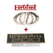 Lambretta GP / GRAND PRIX 200 LEGSHIELD & INNOCENTI HORNCAST BADGE by FORTIFIED (Orig Italian spec)