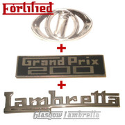Lambretta GP / GRAND PRIX 200 LEGSHIELD & HORNCAST BADGE SET by FORTIFIED (Orig Italian spec)