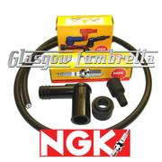 Lambretta Series 1, 2 & 3 NGK SPARK PLUG B7ES + SUPPRESSOR CAPS + HT CABLE Li/TV/SX/GP
