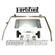 FORTIFIED Lambretta Series 2 Li / TV POLISHED STAINLESS STEEL STAND & SPLASH PLATE + BLACK FEET, SPRING, HOOKS