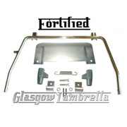 FORTIFIED Lambretta Series 2 Li / TV POLISHED STAINLESS STEEL STAND & SPLASH PLATE + GREY FEET, SPRING, HOOKS