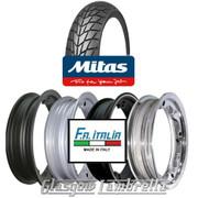 Single MC20 350 x 10 Tyre Fitted to FA Italia Lambretta Tubeless Rim