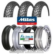 Set of 3 x MC20 350 x 10 Tyres Fitted to FA Italia Lambretta Tubeless Rims