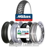 Single MC20 Whitewall 350 x 10 Tyre Fitted to FA Italia Lambretta Tubeless Rim