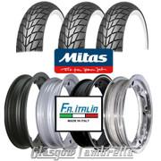 Set of 3 x MC20 Whitewall 350 x 10 Tyres Fitted to FA Italia Lambretta Tubeless Rims