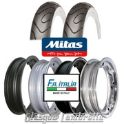 Set of 2 x MC18 Whitewall 350 x 10 Tyres Fitted to FA Italia Lambretta Tubeless Rims