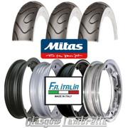 Set of 3 x MC18 Whitewall 350 x 10 Tyres Fitted to FA Italia Lambretta Tubeless Rims