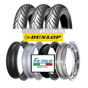 Set of 3 x Dunlop Scootsmart 350 x 10 Tyres Fitted to FA Italia Lambretta Tubeless Rims