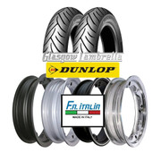 Set of 2 x Dunlop Scootsmart 350 x 10 Tyres Fitted to FA Italia Lambretta Tubeless Rims