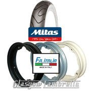 Single MC18 Whitewall 350 x 10 Tyre + Inner Tube Fitted to FA Italia Lambretta Split Rim