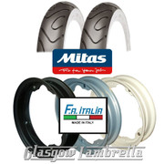 Set 2 x MC18 Whitewall 350 x 10 Tyres + Inner Tubes Fitted to FA Italia Lambretta Split Rims