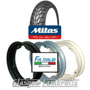 Single MC20 350 x 10 Tyre + Inner Tube Fitted to FA Italia Lambretta Split Rim