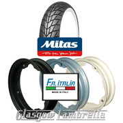 Single MC20 Whitewall 350 x 10 Tyre + Inner Tube Fitted to FA Italia Lambretta Split Rim