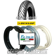 Single Dunlop Scootsmart 350 x 10 Tyre + Inner Tube Fitted to FA Italia Lambretta Split Rim