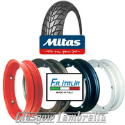 Single MC20 350 x 10 Tyre + Inner Tube Fitted to FA Italia Vespa Split Rim
