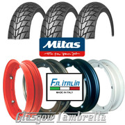 Set 3 x MC20 350 x 10 Tyres + Inner Tubes Fitted to FA Italia Vespa Split Rims