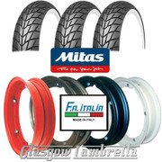 Set 3 x MC20 Whitewall 350 x 10 Tyres + Inner Tubes Fitted to FA Italia Vespa Split Rims