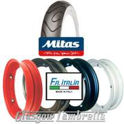 Single MC18 Whitewall 350 x 10 Tyre + Inner Tube Fitted to FA Italia Vespa Split Rim
