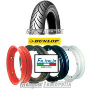 Single Dunlop Scootsmart 350 x 10 Tyre + Inner Tube Fitted to FA Italia VespaSplit Rim