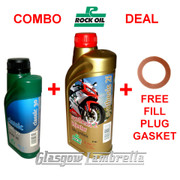 Vespa Oil Deal 500ml ROCK OIL SAE 30 GEARBOX + 1L FULLY SYNTH 2i ENGINE + GASKET