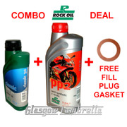 Vespa Oil Deal 500ml ROCK OIL SAE 30 GEARBOX + 1L PP2 SEMI-SYNTHETIC ENGINE + GASKET