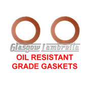 Vespa Italian OIL FILL / DRAIN PLUG GASKETS / SEALS SET for Large and Small Frame Models