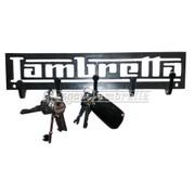 LAMBRETTA LOGO CUT OUT 3mm STEEL WALL MOUNT KEY HOLDER / HOOK Mancave, Garage