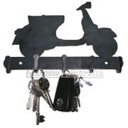 VESPA SCOOTER CUT OUT 3mm STEEL WALL MOUNT KEY HOLDER / HOOK Mancave, Garage