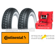 Set 2 x CONTINENTAL LB 400 x 8 WHITEWALL TYRES  + INNER TUBES for Lambretta LD, D, LC