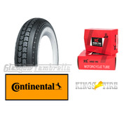 Single CONTINENTAL LB 400 x 8 WHITEWALL TYRE + INNER TUBEfor Lambretta LD, D, LC etc