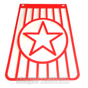 Vespa / LML 60s Style Italian RED & WHITE STAR LONG MUDFLAP