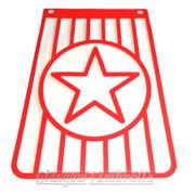 Lambretta 60s Style Italian RED & WHITE STAR LONG MUDFLAP Li/TV/SX/GP etc