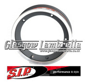 S.I.P. Vespa / LML Single TUBELESS WIDE WHEEL RIM in BLACK/POLISHED