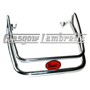 Vespa PX Scooter POLISHED STAINLESS STEEL FRONT MUDGUARD BUMPER c/w RED BADGE