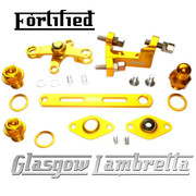 FORTIFIED Lambretta CUSTOM GEAR LINKAGE, PLUGS & SEALS SET GOLD CNC ALLOY