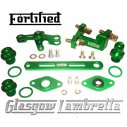FORTIFIED Lambretta CUSTOM GEAR LINKAGE, PLUGS & SEALS SET GREEN CNC ALLOY