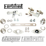FORTIFIED Lambretta CUSTOM GEAR LINKAGE, PLUGS & SEALS SET SILVER CNC ALLOY