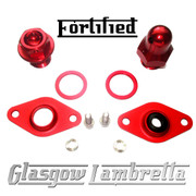 FORTIFIED Lambretta CUSTOM OIL PLUG / MAG HOUSING SEAL KIT #1 DEEP RED CNC ALLOY