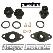 FORTIFIED Lambretta CUSTOM OIL PLUG / MAG HOUSING SEAL SET #2 BLACK CNC ALLOY