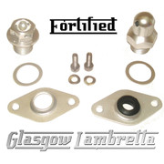 FORTIFIED Lambretta CUSTOM OIL PLUG / MAG HOUSING SEAL KIT #1 SILVER CNC ALLOY