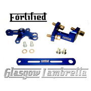 FORTIFIED Lambretta CUSTOM GEAR LINKAGE KIT ELECTRIC BLUE CNC ALLOY