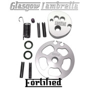 FORTIFIED Lambretta CUSTOM THROTTLE & GEAR PULLEY KIT SILVER CNC ALLOY